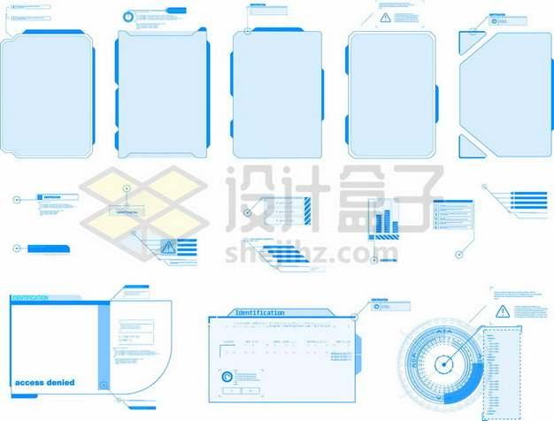各种蓝色的科幻风格信息文本框584725矢量图片免抠素材