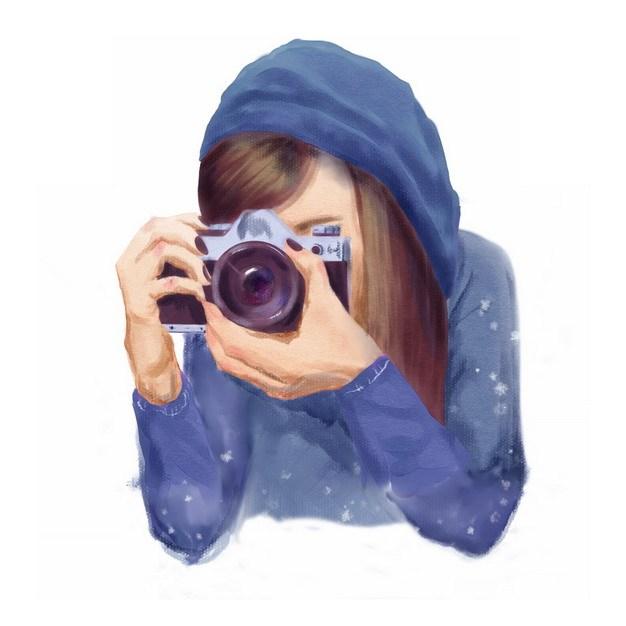 漂亮女孩正在用数码相机拍照手绘油画插画938799png图片素材 人物素材-第1张