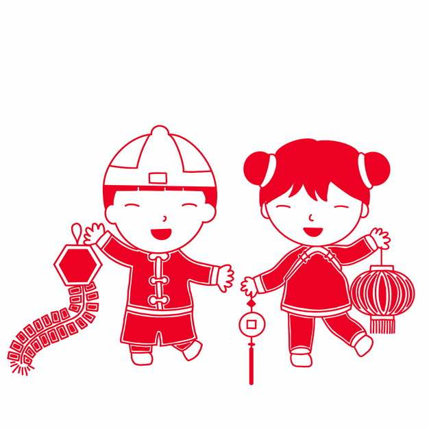 新年春节卡通童男童女拿着鞭炮和红灯笼红色剪纸710614png图片素材