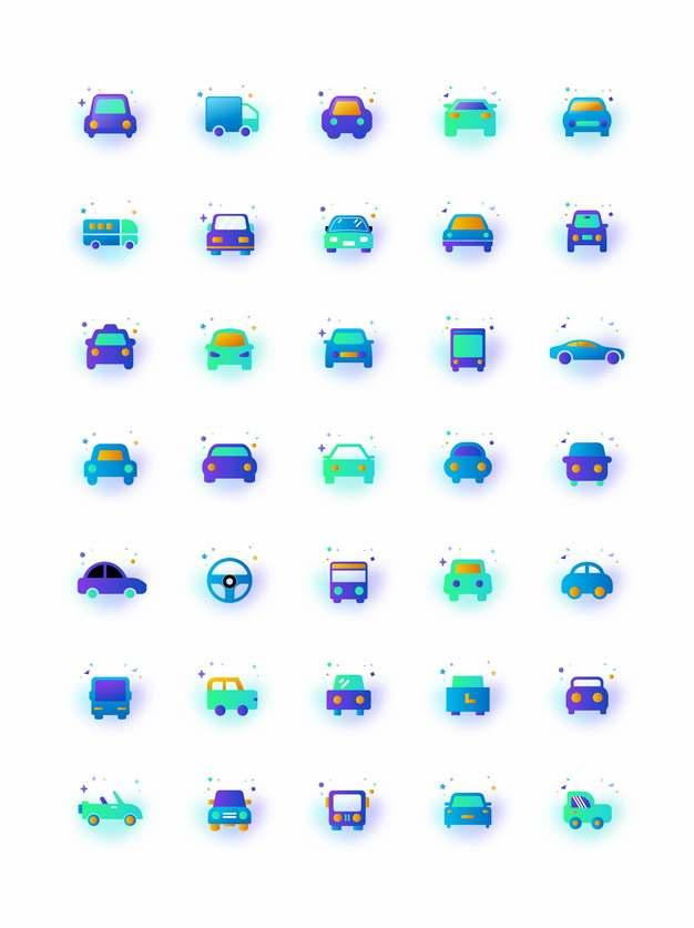 35款绿色微质感渐变风格卡通汽车图标257125图片素材