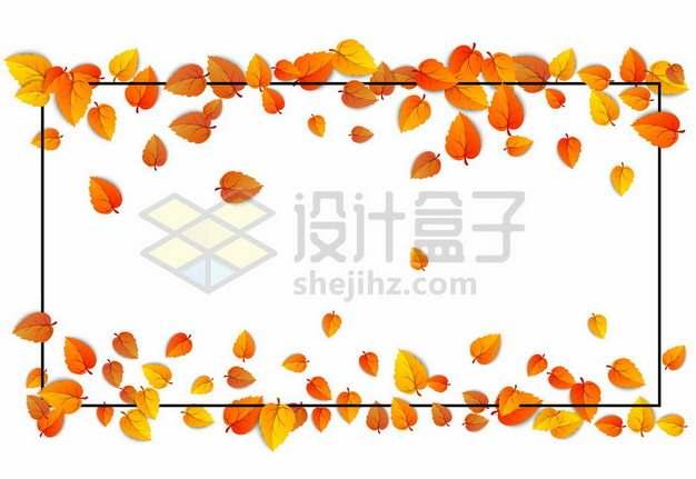 秋天飘落的黄色树叶和黑色边框919534图片免抠矢量素材