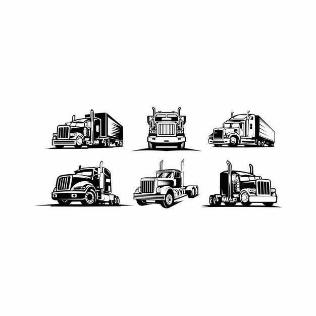 6款卡车头手绘插画178876图片素材