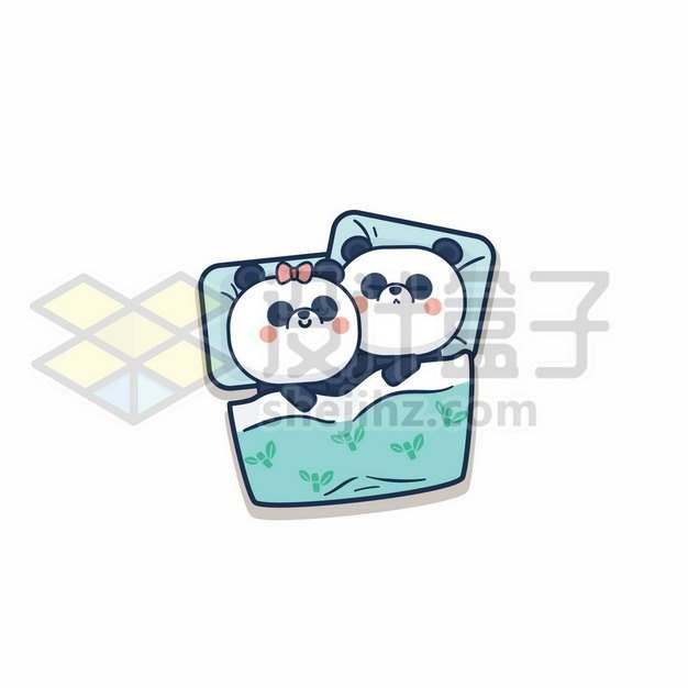 卡通熊猫夫妻情侣拥抱在一起睡觉208194图片免抠矢量素材