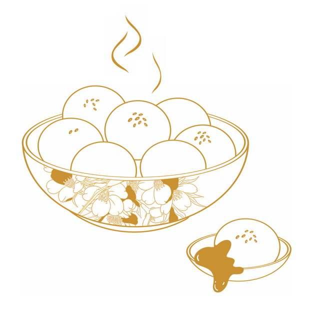 金色线条一碗芝麻糖汤圆元宵节美食插画366695png图片素材