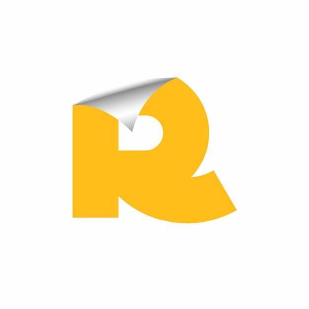 3D立体翘边贴纸黄色大写字母R字体logo设计442646EPS免抠图片素材