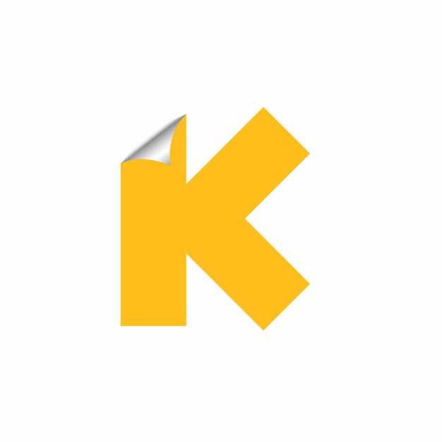 3D立体翘边贴纸黄色大写字母K字体logo设计546739EPS免抠图片素材