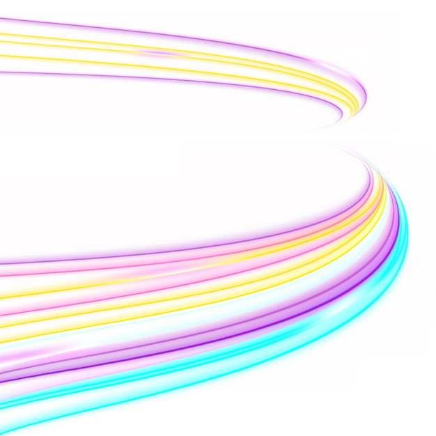 绚丽彩色七彩抽象发光弯曲光线装饰605000png图片素材