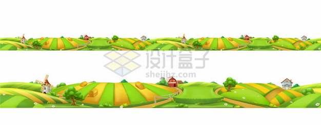 两款秋天秋收丰收田野风景图256672图片免抠矢量素材