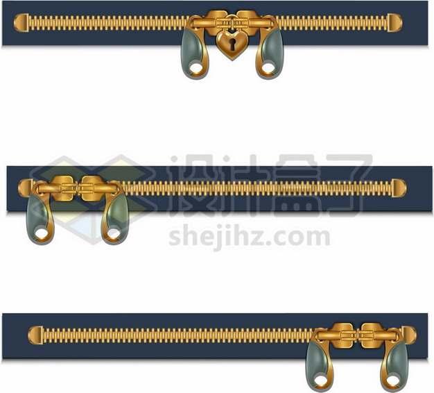 三款不同风格的金属拉链装饰343026矢量图片免抠素材