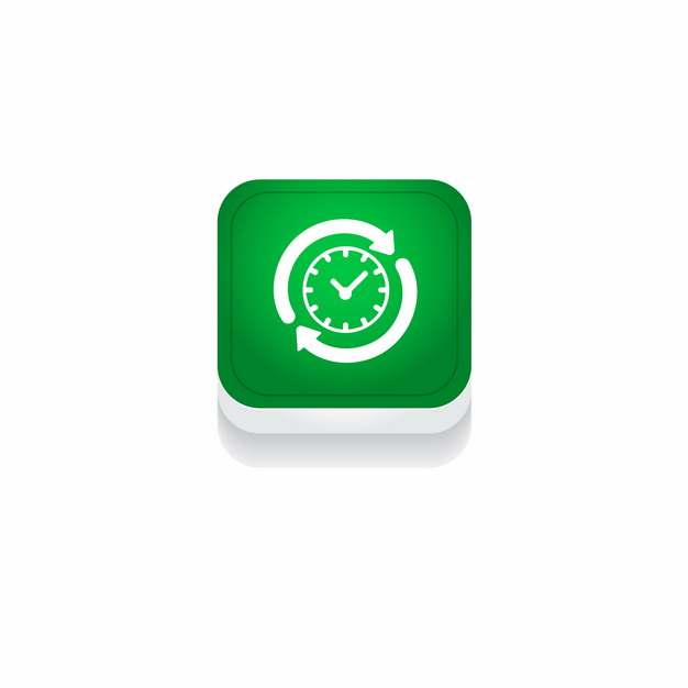 绿色时钟时间3D立体圆角图标103227免抠图片素材