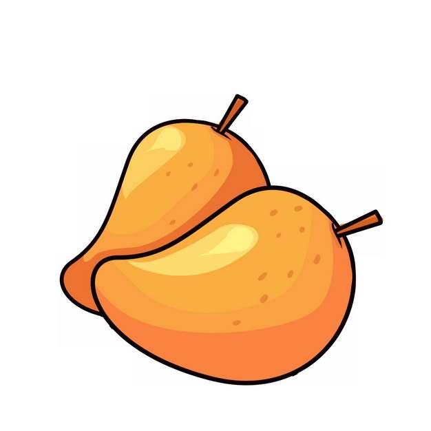 两颗卡通芒果手绘插画274263免抠图片素材