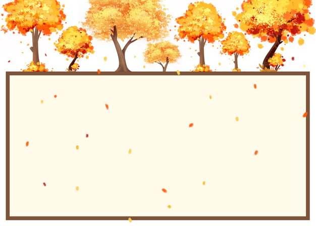 秋天变黄变红的大树组成的文本框信息框512305png图片素材