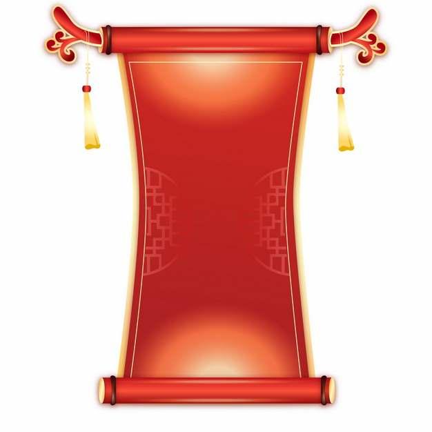 新年春节中国风红色锦旗卷轴760978图片免抠素材