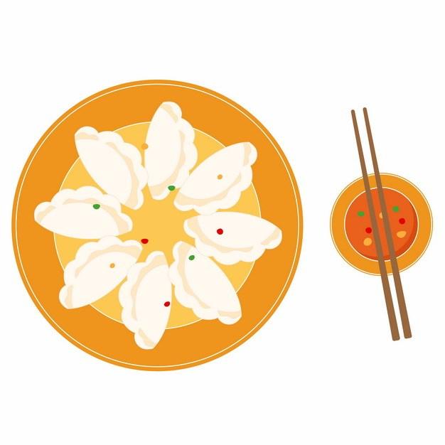 扁平化风格一盘饺子和蘸酱761012免抠图片 生活素材-第1张