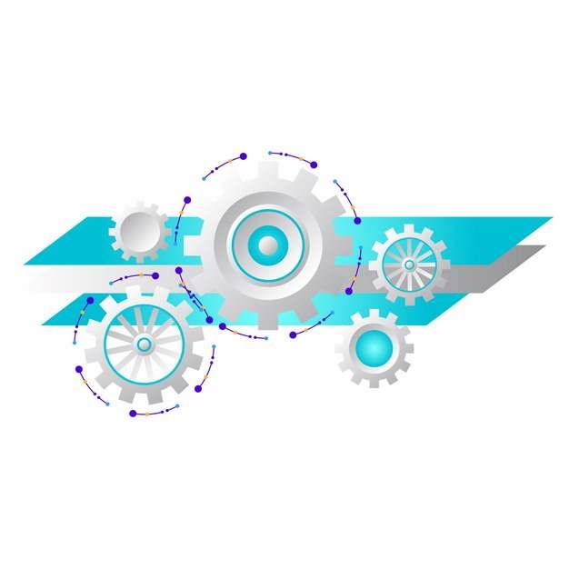 银色齿轮和蓝色多边形装饰952053图片素材