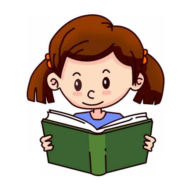 卡通小女孩正在看书读书653822图片素材