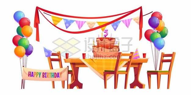 放在桌上的卡通生日蛋糕和彩带气球装饰生日宴会现场383228图片免抠矢量素材