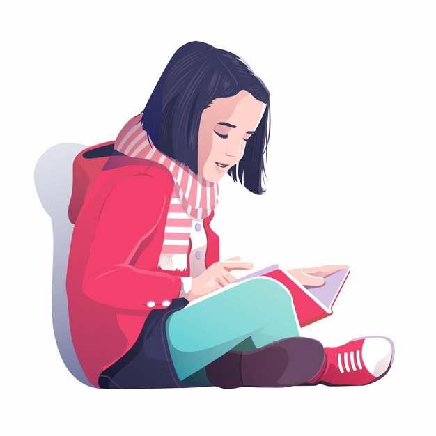 盘腿坐在地上看书的小女孩插画468962图片免抠素材