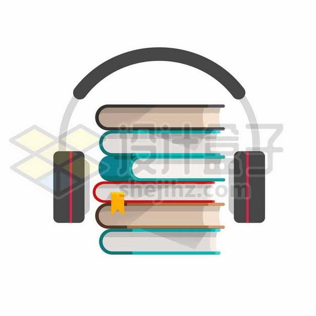 扁平化风格书本和耳机听书APP软件有声小说890862eps矢量图片素材