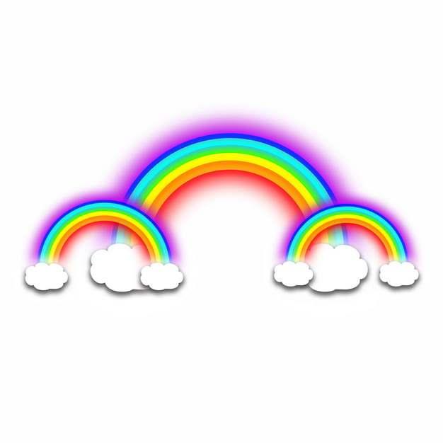 卡通白云和发光的七彩虹插画685360png图片素材