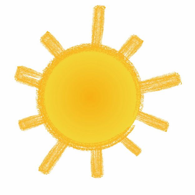 卡通手绘黄色太阳涂鸦简笔画637551免抠图片