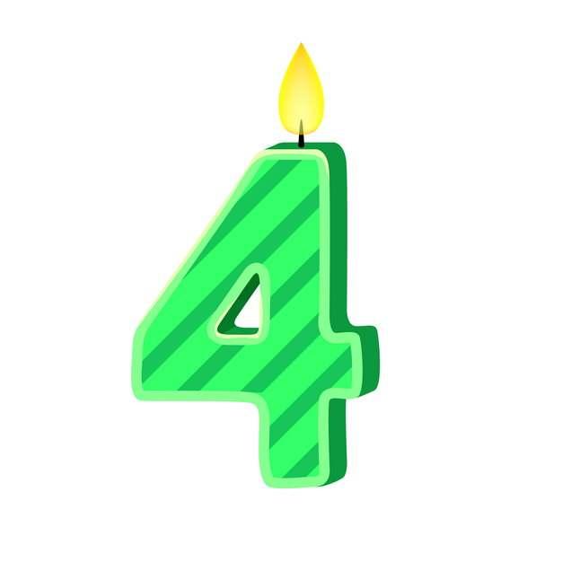 四周岁生日快乐生日蜡烛数字蜡烛599980免抠图片素材