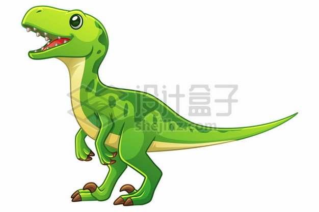 一只可爱的绿色卡通异特龙灭绝恐龙106333图片免抠矢量素材