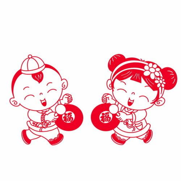 新年春节卡通童男童女拿着福字敲锣红色剪纸158752png图片素材