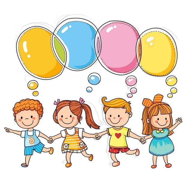 四个卡通小朋友和彩色气泡对话框儿童节插画878043图片素材