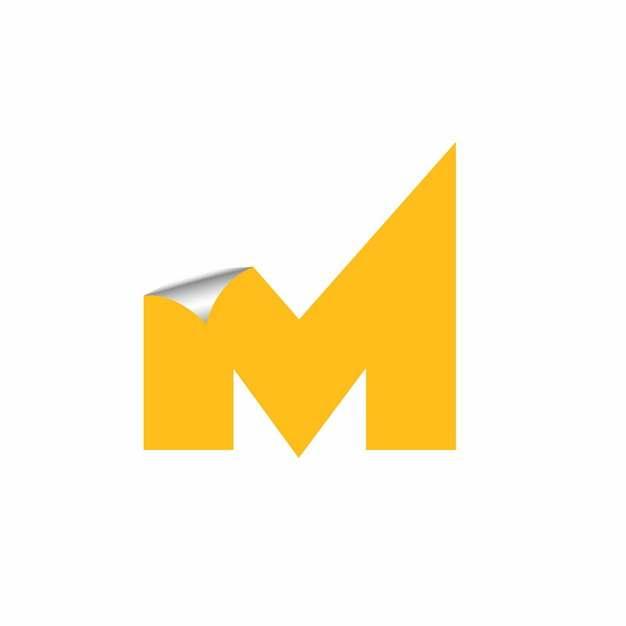 3D立体翘边贴纸黄色大写字母M字体logo设计438655EPS免抠图片素材