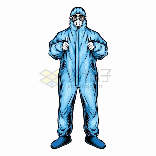 双手竖起大拇指身穿防护服的医护人员医生彩绘插画png图片素材