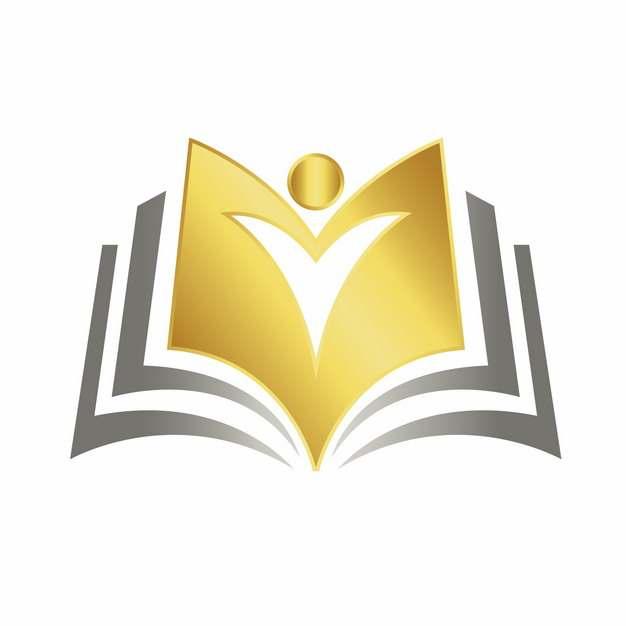 打开的书本金色教育类logo设计元素870791图片免抠素材