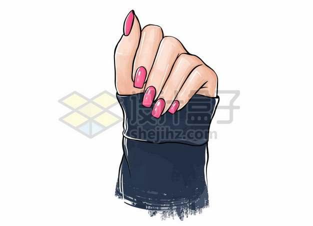 一只好看秀气的手上展示粉红色的指甲油美甲手绘插画933735图片免抠矢量素材