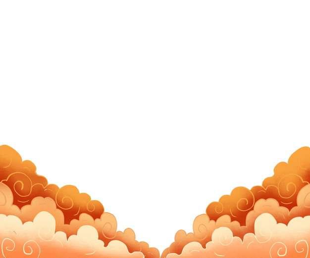红黄色的中国风云朵祥云图案547482图片素材