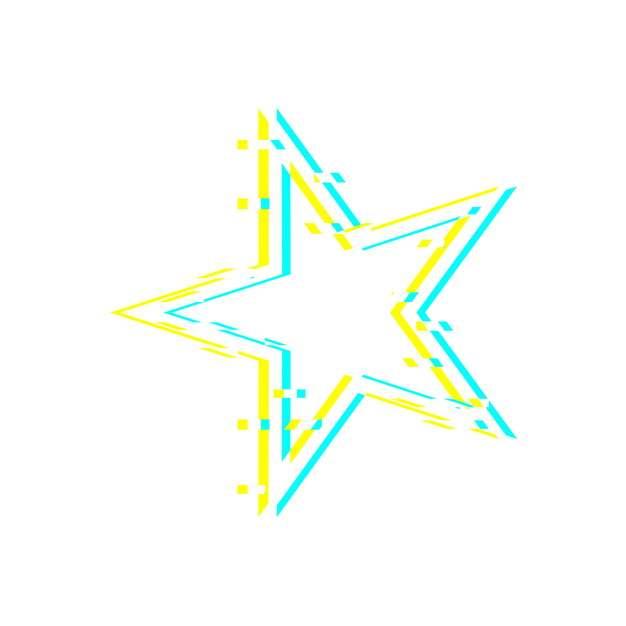 故障风蓝黄色五角星图案362578png图片素材