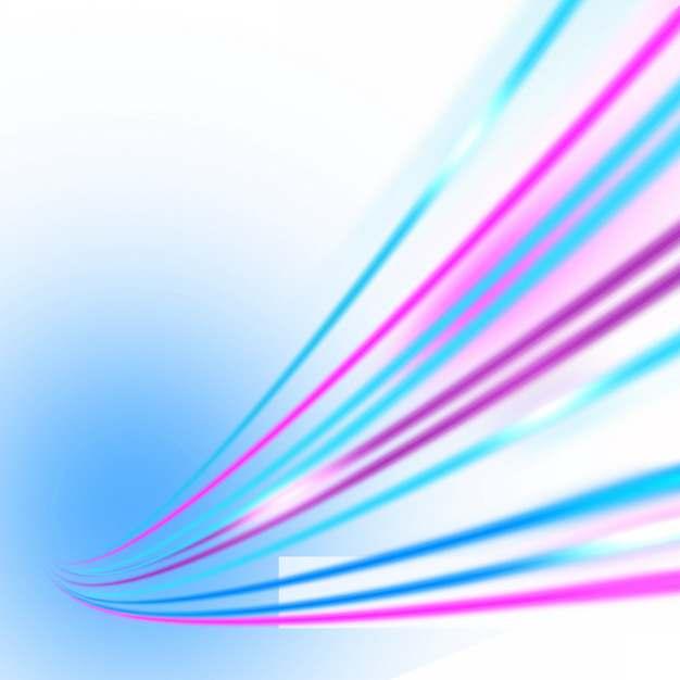 绚丽的七彩虹色发光曲线线条装饰127593png图片素材