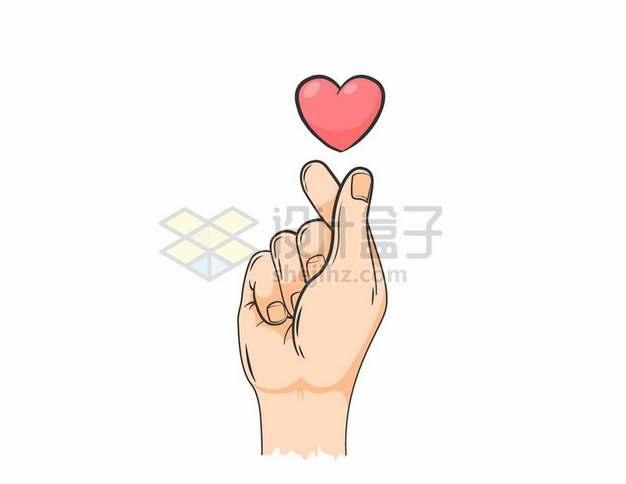 大拇指食指单手比心手势和红心图案手绘插画300374矢量图片免抠素材