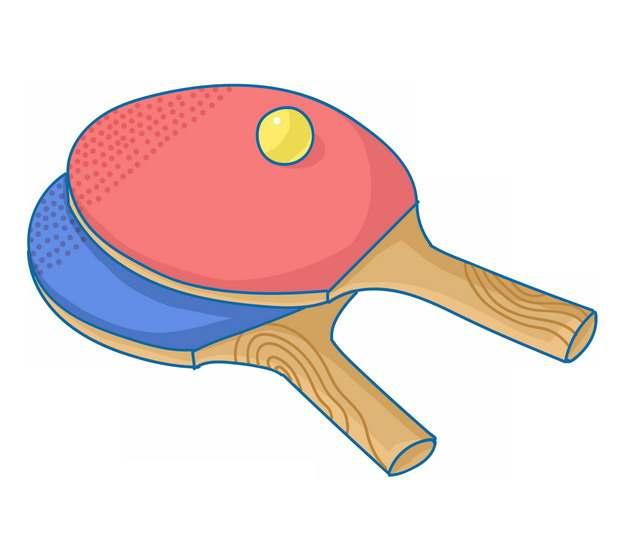 蓝色和红色乒乓球拍手绘插画473774png图片素材