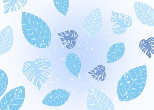 手绘风格树叶下雪冬天淡蓝色背景图片素材897489