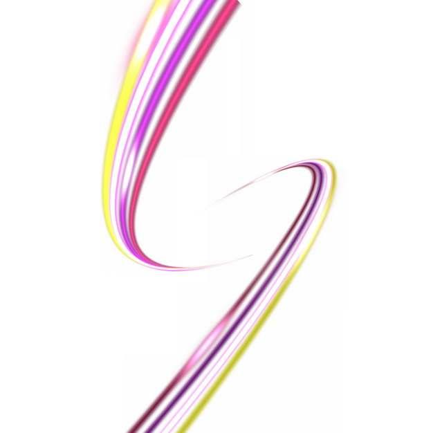 两股纠缠的七彩虹色发光曲线线条装饰805124png图片素材