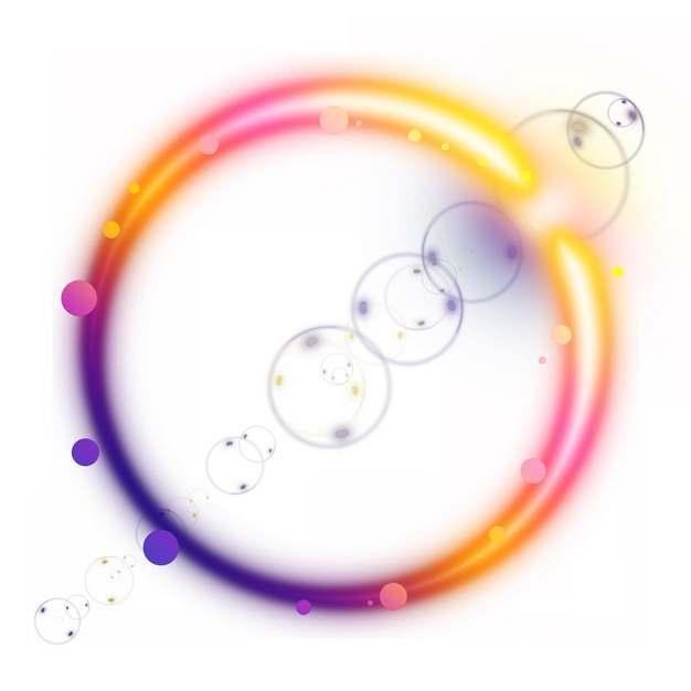 五颜六色的七彩发光光晕光环效果620751png图片素材