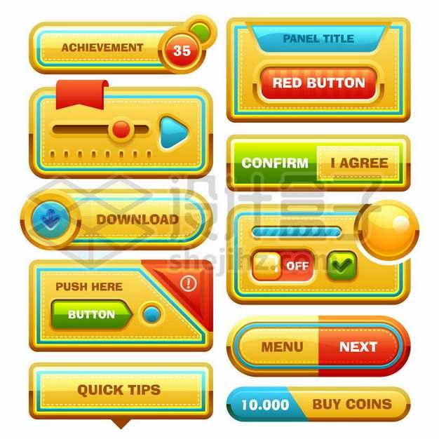 各种黄色的圆角按钮卡通游戏操作界面888644图片免抠矢量素材