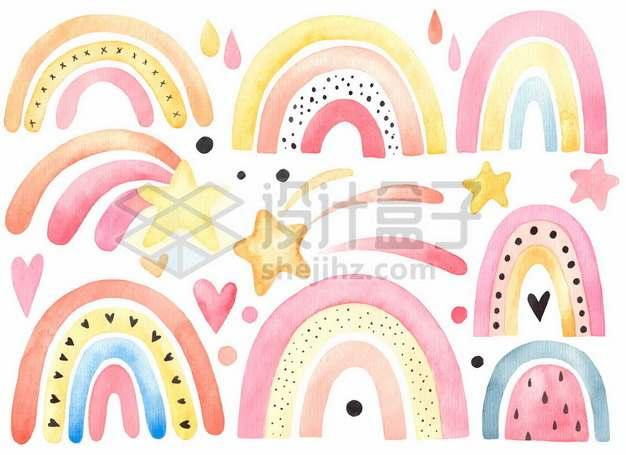 各种水彩画风格卡通涂鸦彩虹图案973082图片免抠矢量素材