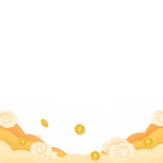 中国风黄色的云朵祥云和金币图案877335图片素材