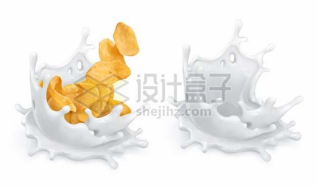 薯片落入牛奶液体飞溅效果821672图片免抠矢量素材