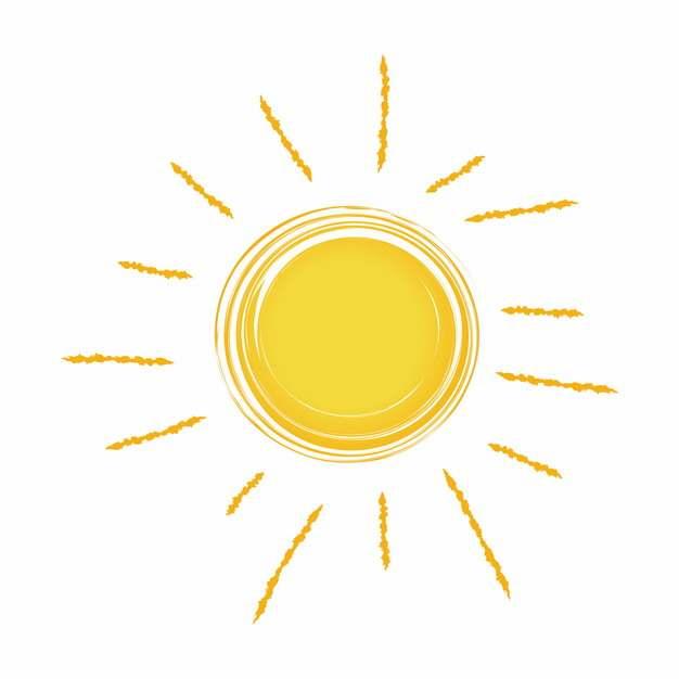 卡通手绘黄色太阳涂鸦简笔画575255免抠图片