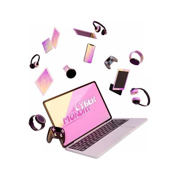 网上购物节的飞舞的笔记本电脑手机耳机游戏机等374280图片素材