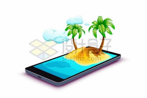 手机屏幕上的3D热带海岛手机旅游241268图片免抠矢量素材
