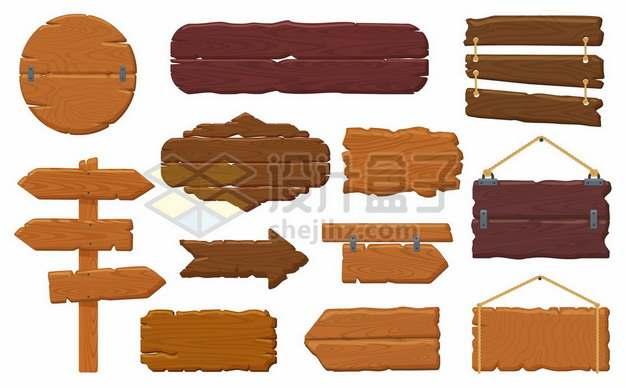十二款木制指示牌木牌方向牌275692图片免抠矢量素材