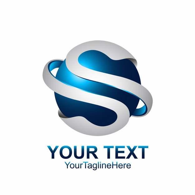 创意字母S蓝色科技风格球形LOGO设计元素453641图片免抠素材